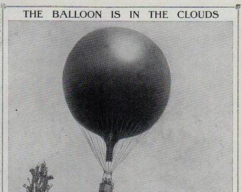 Antique print 1910. BALLOON In The Clouds. lithograph. Almost 100 years old print. Antique print plate.9.5x6.25 inches, 24x16cm