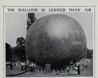Antique print 1910. BALLOON Lighter Than Air. lithograph. Almost 100 years old print. Antique print plate.9.5x6.25 inches, 24x16cm
