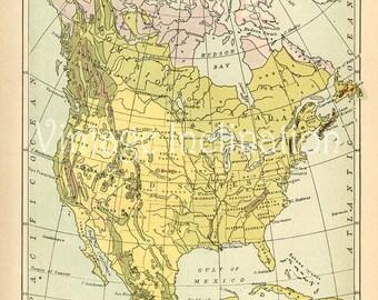 Vintage usa map | Etsy