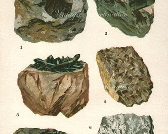 Vintage 1911 MINERALS Print Antique PRECIOUS STONES print mineral print, bookplate art print, augite gems wall print wall art
