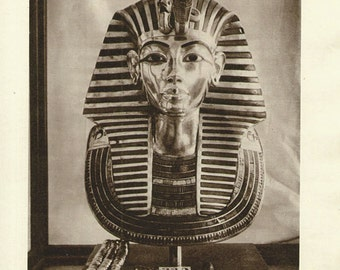Antique Print, 1940 TUTANKHAMEN gold mask, wall art vintage sepia photogravure illustration chart