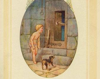 Antique Art Print WATER BABIES 1910s, A Trememdous Brass Blunderbuss, 100 years old children fairies babies yellow