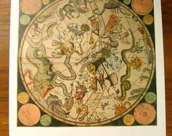 Large Vintage Antique SOUTHERN Star Map 1790, zodiac Astronomy constellations - 1970s star chart star zodiac constellation map