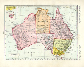 Vintage Map of Australia Original 1930s
