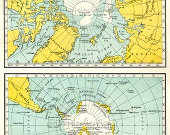 Vintage Polar Map 1940s original