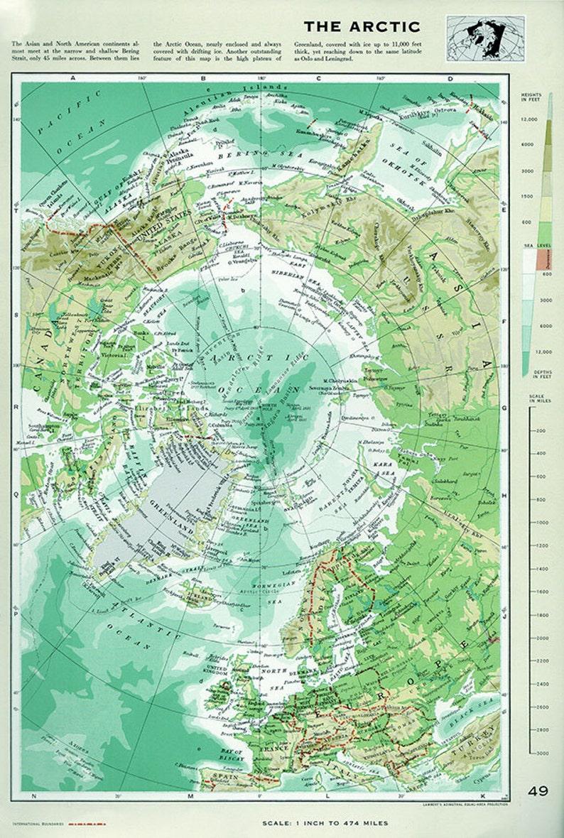 Map Of Germany 1960.Large Vintage Map Arctic Ocean Alaska Canada Germany Greenland Original 1960