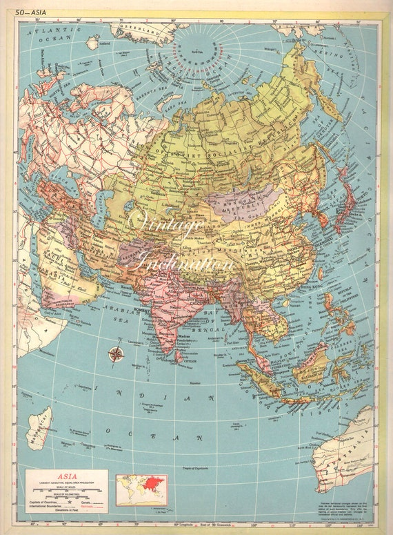 Large Map Of Asia.Large 1940s Antique Vintage Map Asia Etsy