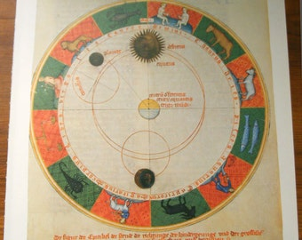Large Vintage Antique Star Map 1500s, zodiac Astronomy constellations - 1970s star chart star zodiac constellation map