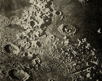 1900 SURFACE Of The MOON 76, Cassini, Eudoxus, Aristoteles, Valley of the Alps, Original Vintage Space Astronomy Print