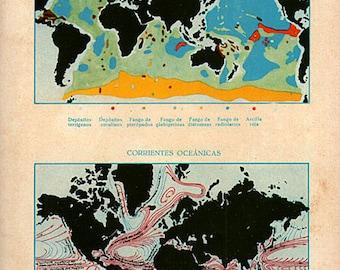Vintage World Map Minerals and Oceans 1922 original