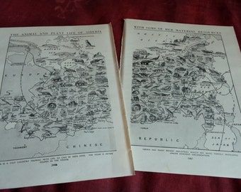 1930s SIBERIA PLANTS ANIMALS map