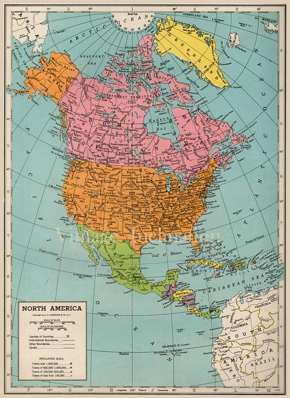 Western North America Map.Vintage North America Map 1940s Original Etsy