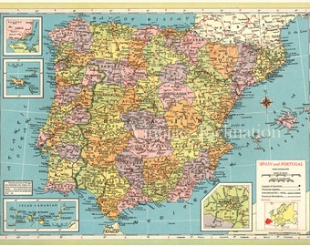 Large Map of SPAIN,Antique print.1891.12x9.75 Inches,Map of SPAIN PORTUGAL physical, and political .Antique maps.Large size 30.5x25cm.