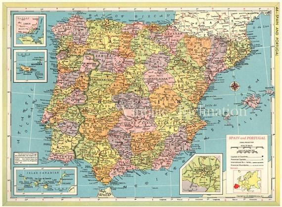 Cartina Spagna Politica E Fisica.Grande Mappa Della Spagna Antica Print 1891 12x9 75 Pollici Etsy