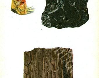 Vintage 1911 Minerals Print 39 Antique Gems Precious Stones print gemstones print, bookplate art print, minerals wall print wall art