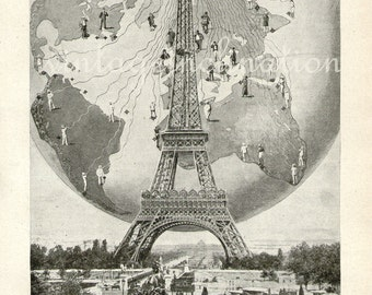 Antique Print, 1933, The First Centre Of World Wireless, Eiffel Tower, Paris, France, radio, world, globe, technology