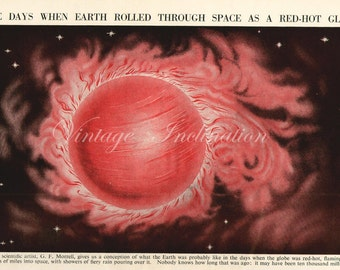 Astronomy Art Print 1930s antique When Earth Rolled Through Space Red Hot Globe, space stars, universe, illustration, astronomical