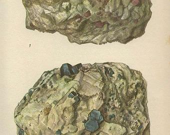 Vintage 1950 Minerals Print Antique Gems Precious Stones print gemstones print, bookplate art print, minerals wall print wall art