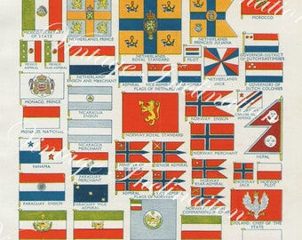 National Flags 4011 vintage lithograph print bookplate to decor frame red green yellow blue white