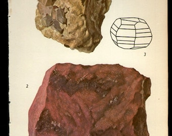 Antique Prints, 1950s  Rocks and Minerals 90, cinnibara wall art vintage coloured illustration rocks natural science
