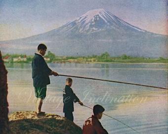 1950, Fuji Yama, Japan, Mt Fuji, Mount Fuji snow art print, 63 years old Japan, Asian