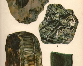 Vintage 1911 Minerals Print Antique Gems Nephrite 4 gemstones print, bookplate art print, minerals wall print wall art