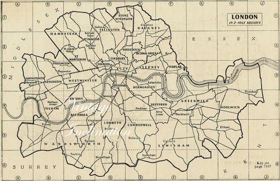 London City Map 1940s Vintage Original Map London Uk Britain Etsy