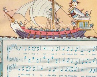1930s I SAW A SHIP, nursery bookplate, sailing ships original antique print