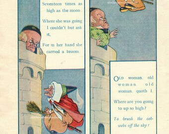 Vintage 1930 Delightful Nursery Rhyme Book Plate THE Old Woman ORIGINAL childrens book plate