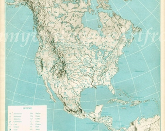 Vintage Map North America United States Original 1940s