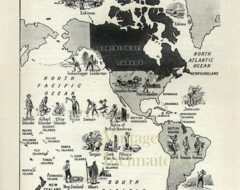 Vintage World Map British Empire 1950s original