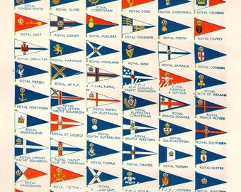 Antique YACHT CLUB FLAGS vintage bookplate, Chart 1930s wall art vintage color lithograph illustration nautical