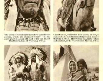 Antique Print, Native American Indian Chiefs, 1950, beautiful wall art vintage illustration