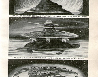 Old Ideas Of What The Earth Was Like, 1920 print, astronomy, ancient, universe, space stars, star chart, universe, space, astrology