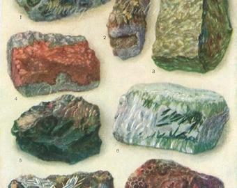 Vintage Minerals Print Antique Gems Precious Stones 1940s print, art print, lithograph minerals wall print wall art
