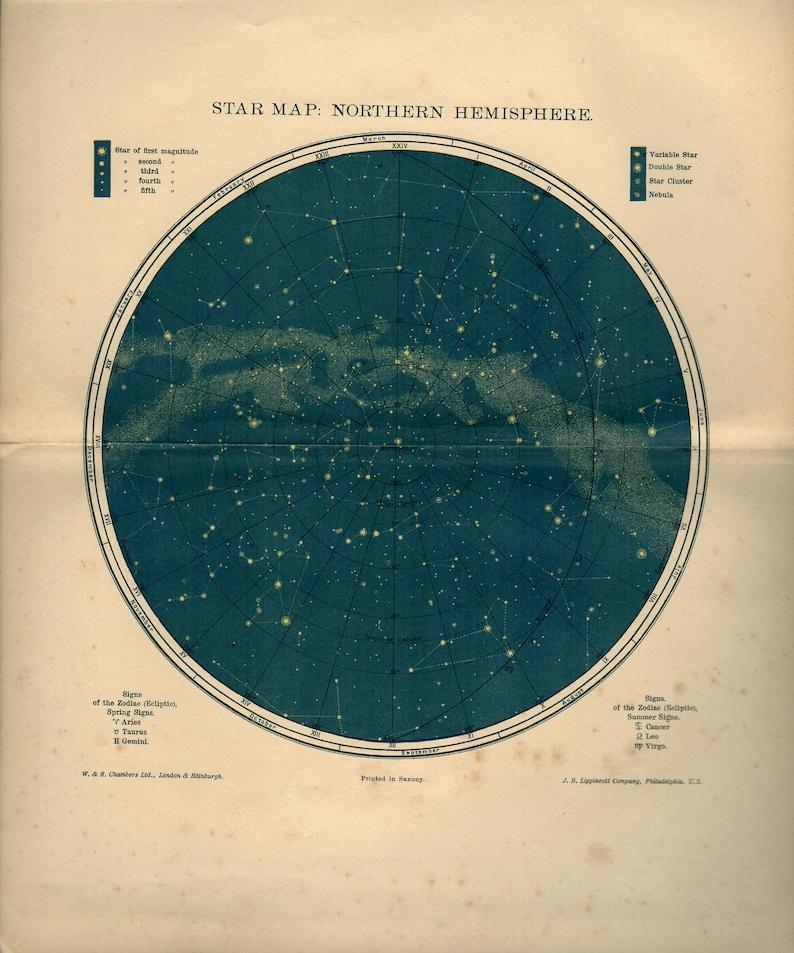 1902 Northern Hemisphere Star Map Antique Teal Astronomy Atlas Etsy