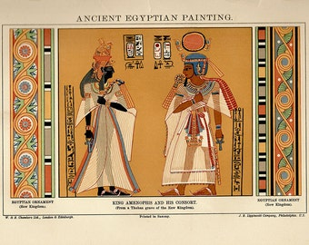 Antique print 1922. Chromolithograph. Ancient Egyptian Painting. 94 years old print. Antique Egypt print plate.10.5x7 inches, 27x18cm