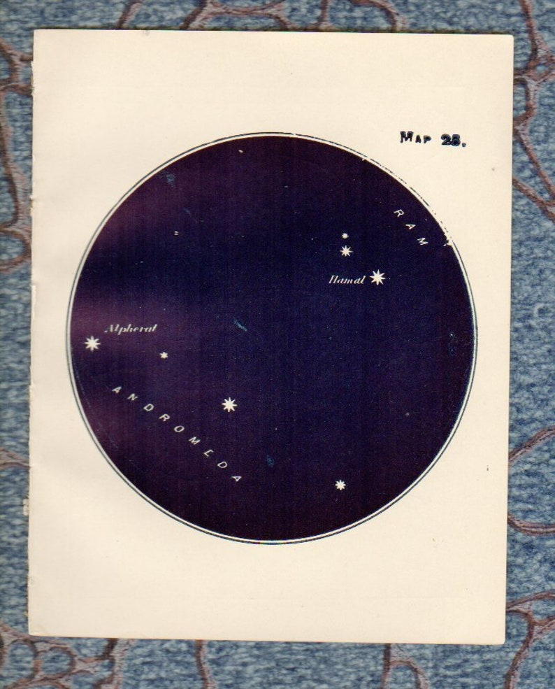 Vintage 1930s Antique STAR Map Ram Andromeda Hamal - 25 Astronomy Southern  Constellations star chart star zodiac constellation map