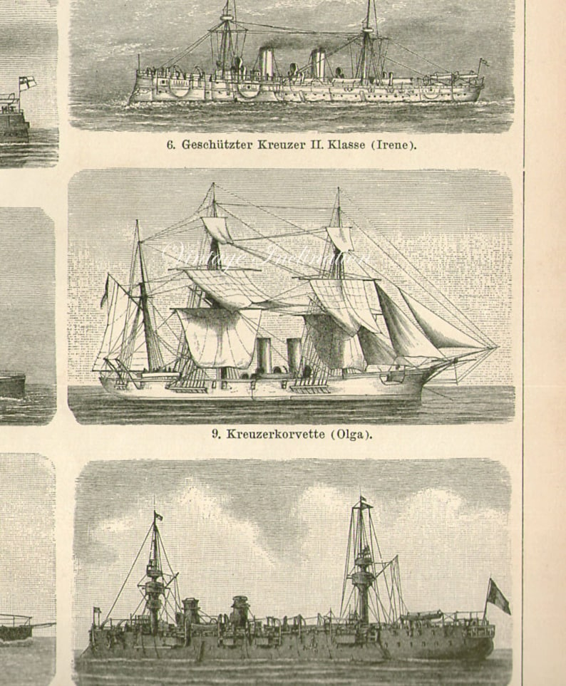 Antique Print, SAILING SHIPS, chart 1904 beautiful wall art vintage b/w  lithograph illustration boats ship nautical sails