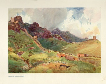 1911, On The Great Wall Of China, Antique Art Print 105 years old China, Asia
