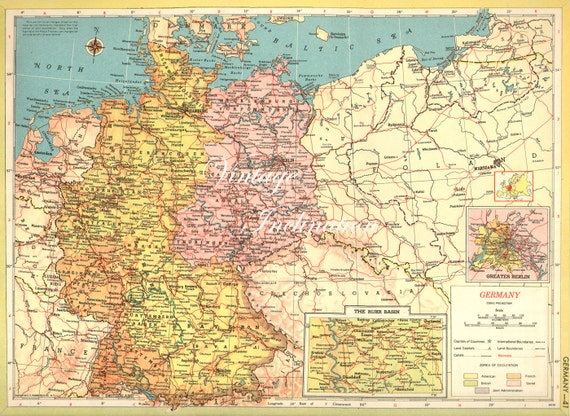 Map Of Germany Regions.Antique Map Germany Ruhr Basin Insert German Regions Atlas 1940s