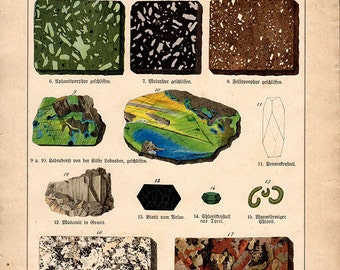 1880 LARGE ANTIQUE Minerals Gemstones hand-coloured Art Print, Engraving, 1800s print plate VIII