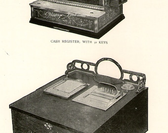 Antique Print, CASH REGISTERS Chart 1 1908 wall art vintage b/w photogravure Edwardian illustration