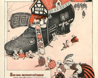 Antique 1910 childrens print, Old Woman Who Lived In A Shoe nursery rhyme, vintage art bookplate print