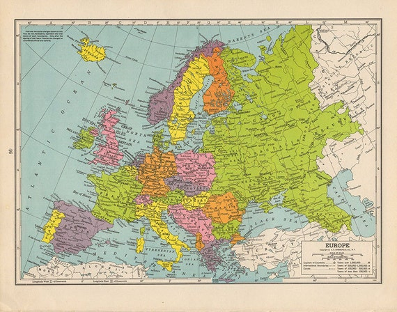 1940s Map Of Europe.1940s Vintage Antique Europe Map Original Uk Italy France Etsy