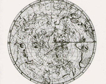 Astronomy Print bookplate SOUTHERN STAR MAP, 1940s, Constellations, 1729 star chart,astronomical star stars constellation astrology space