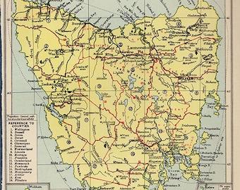Antique TASMANIA Australia Map 1930s Original Map
