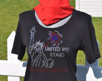 America United We Stand Rhinestone Bling