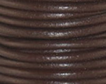 Leather Cord 1.5mm Round - 1 Yard - Chocolate Color - Make Necklaces, Earrings and Bracelets 5001-03C