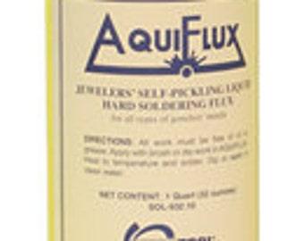 AQUIFLUX Soldering FLUX Jewelers Self Pickling Liquid Hard  for all types of jewelry metals 32 oz - SOL-932.10